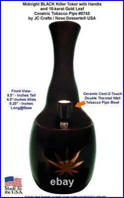 Killer Toke Gold Leaf Water Hookah Bong Tobacco Pipe BLACK Ceramic Glass 0745BLK