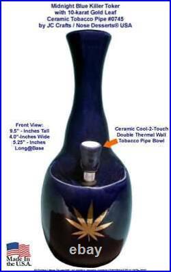 Killer Toke Gold Leaf Water Hookah Bong Tobacco Pipe BLUE Ceramic Glass 0745-BLU