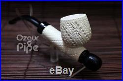Lattice Cavalier Classic Shape Meerschaum Smoking Pipe Handmade Collectible Pipe