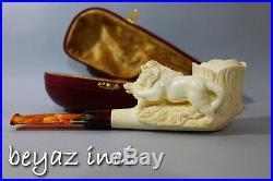 Lion Attack On Wild Boar Collectible Meerschaum Smoking Pipe Pfeife By Fyavuz