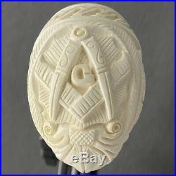 Masonic Right- Geometric Poppy Scroll Work Full Bend Meerschaum Tobacco Pipe By