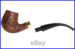Mastro De Paja Sandblasted Ring Tobacco Pipe Bent Billiard
