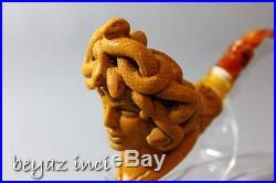 Medusa Meerschaum Tobacco Pipe Pfeife Pipa Collectible Handmade By F. Yavuz