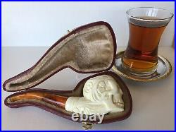 Meerschaum pipe Skull Head Smoking Danger 160219-7
