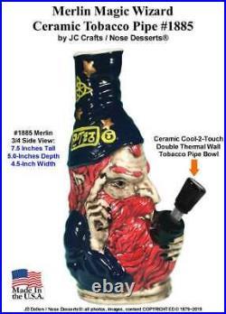 Merlin Magic Wizard Ceramic Glass Water Hookah Rumph Tobacco Pipe #1885 Made USA