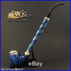 Mr. Brog original LONG smoking pipe nr. 13 blue smooth DEZERTER Hand made