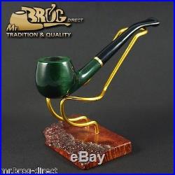 Mr. Brog original SMALL smoking pipe nr. 29 green bent stem CARO HAND MADE