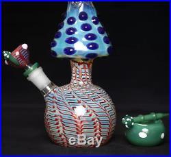 Mushroom Shaped Glass Bong 13.4 Hookah Water Smoking Pipe 5mm Colorful