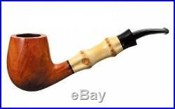 New TSUGE Bamboo Pipe Half Bent Smooth Smoking Pipe Tobacco 140mm