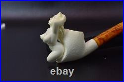 Nude Lady Smoking Pipe Block Meerschaum-NEW Handmade Custom Made Fitted Case1247