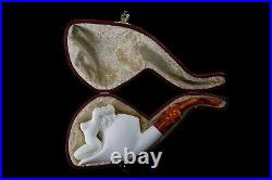 Nude Lady Smoking Pipe Block Meerschaum-NEW Handmade Custom Made Fitted Case#658
