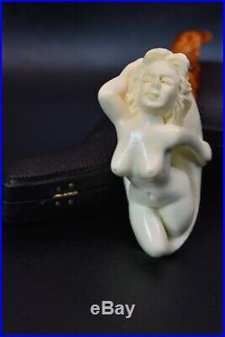 Nude Lady Smoking Pipe Block Meerschaum-NEW Handmade W CASE#1368