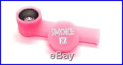Official Smoke EZ Silicone Smoking Pipe with Cap for Smoking on the Go. Pink