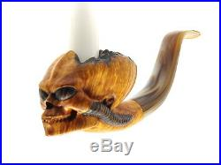 Oguz Simsek Briar Figural Smoking Pipe ALIEN HUMANOID SKULL No Meerschaum NEW