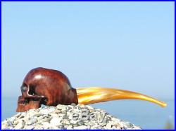Oguz Simsek Briar Figural Smoking Pipe HUMAN SKULL skeleton death meerschaum