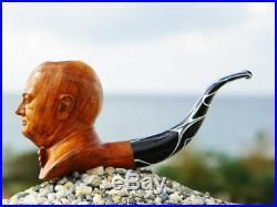 Oguz Simsek Briar Figural Smoking Pipe WINSTON CHURCHILL pfeife pipa meerschaum