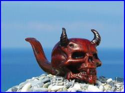 Oguz Simsek Briar Wood Figural Smoking Pipe DEMON SKULL Diablo Devil pfeife