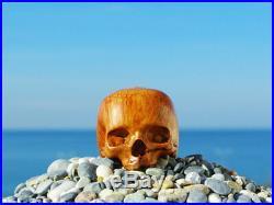 Oguz Simsek Briar Wood Figural Smoking Pipe HALF HUMAN SKULL No Meerschaum NEW