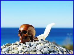 Oguz Simsek Briar Wood Figural Smoking Pipe HUMAN SKULL skeleton bone anatomy