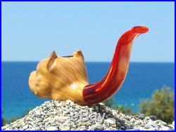 Oguz Simsek Olive Figural Smoking Pipe AMERICAN STAFFORDSHIRE TERRIER meersschau