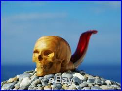 Oguz Simsek Olive Figural Smoking Pipe HUMAN SKULL skeleton meerschaum pfeife