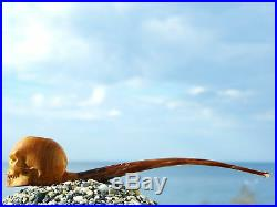 Oguz Simsek Olive Wood Churchwarden Smoking Pipe ANGRY SKULL pfeife meerschaum