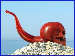 Oguz Simsek Olive Wood Figural Smoking Pipe ANGRY SKULL pfeife meerschaum NEW