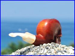 Oguz Simsek Olive Wood Nosewarmer Smoking Pipe HUMAN SKULL skeleton meerschaum