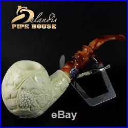 Original Mr. Reis Handmade Meerschaum Smoking Pipe Madhan Flowers Big bowl 58mm