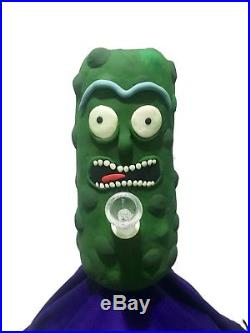 Pickle Rick Glass Smoking Water Pipe! Glow in the dark! 8 Hand Made USA
