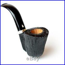 Pipa l'Anatra spazzolata nera SMOKING PIPE HANDMADE IN ITALY BRIAR PFEIFE CURVA