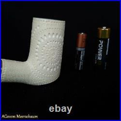 Poker Block Meerschaum Pipe, 925 Silver, Smoking Pipe, Tobacco Pipa CASE AGM-70