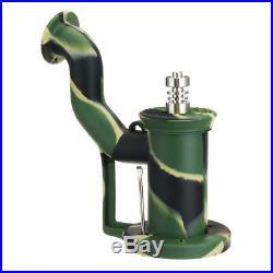 Portable Silicone Titanium Nail Oil Drum Rig Water Tobacco Pipe Fashion Spoon