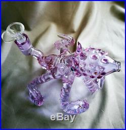 Purple Octopus Glass Bong Water Pipe Smoking Tobacco Smoking Pipe
