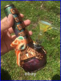 RARE Unique Handmade Steampunk 7 Goldfish Water Pipe Glass Bubbler Bong Smoking