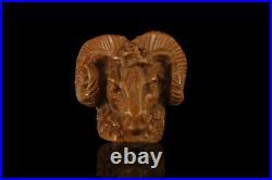 Ram head Meerschaum Pipe brown handmade tobacco smoking pfeife with case