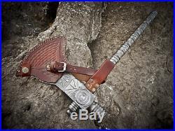 Rare Custom Made Damascus Steel Axe Hatchet Tomahawk Smoking Pipe With Sheath