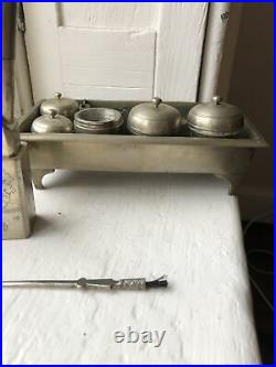 Rare RETRO ANTIQUE SILVER PLATE ASIAN Opium SMOKING PIPE Set VINTAGE Paktong New
