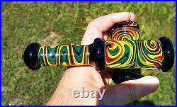 Rasta Linework Glass Tobacco Pipe Sidecar