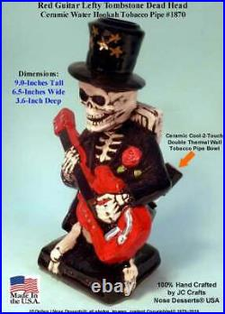 Red Guitar Grateful Dead Skull Water Hookah Bong Ceramic Tobacco Pipe 1870 USA