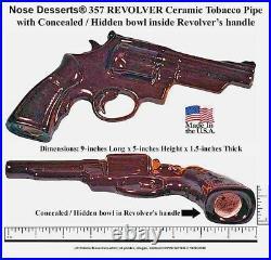 Replica 357-REVOLVER Pistol Gun Ceramic Glass Tobacco Pipe #1924 Made in the USA