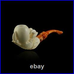 Reverse Eagle Claw Meerschaum Pipe smoking pfeife tobacco hand carve with case