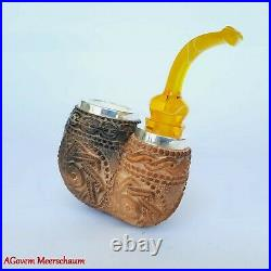 Reverse Nose Warmer Block Meerschaum Pipes, Carved Smoking Pipe, Tobacco, AGM446