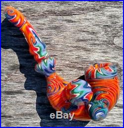 Sacred Water Linework Glass Tobacco Pipe Sherlock