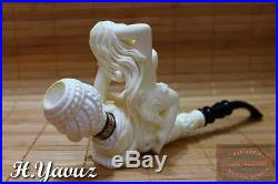 Shiny Sunbathing Lady Collectible Meerschaum Tobacco Pipe Pfeife Pipa By H Yavuz