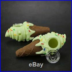 Silicone Green Ice Cream Cone Smoking Pipe w Glass Bowl Detachable Bong Bubbler