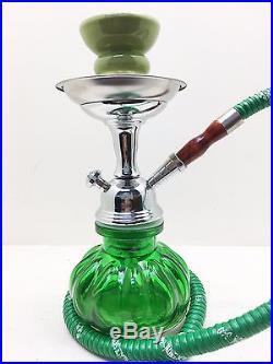 Small 10 Green Hookah Pumpkin Shisha Smoking Pipe Glass 1 Hose Smoke Huka