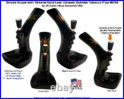 Smoke Scope Gold Leaf Water Smoking Hookah Tobacco Pipe Black Ceramic Glass 0764