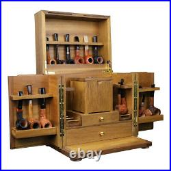 Smoking Pipe Cabinet for 18 Tobacco Pipes Display Rack Wooden Box with Humidor