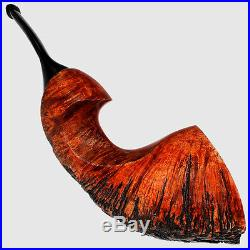 Smooth-partially Rusticated Horn Smoking Pipe By German Master Hortig